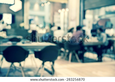 abstract blurred people in food and coffee shop, vintage green tone  - stock photo