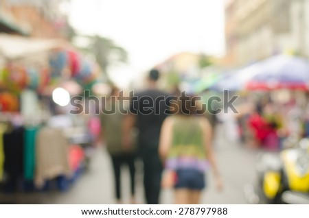 Abstract blurred people walking in walking street shopping centre . - stock photo