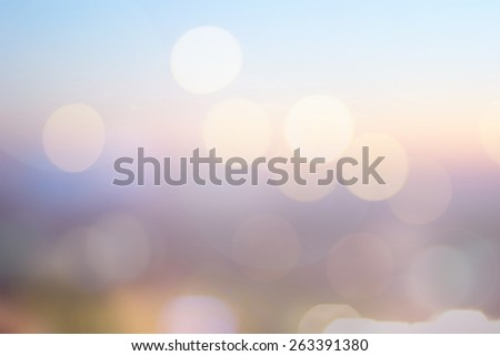 Abstract blurred sky night city background flash bokeh circle light.ideal screen display:golden hour cityscape wallpaper concept:blurry dawn urban backdrop.roofing top point view.sunrise skyline scene - stock photo