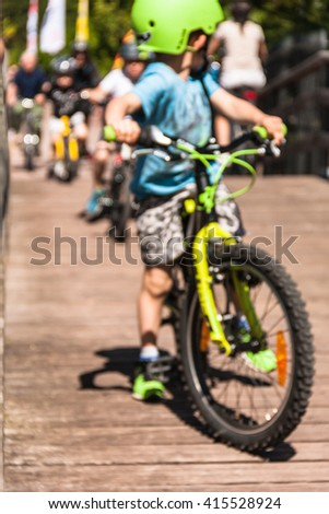 Abstract blurred urban scene. Image blurred of cyclist