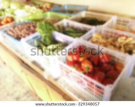 Abstract blurred vegetables set for background