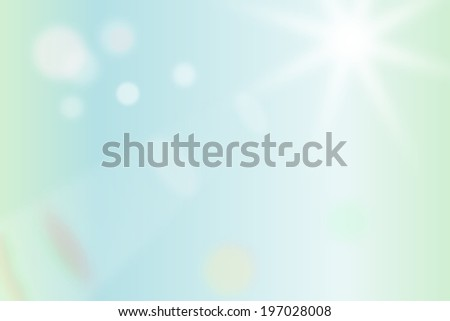 Abstract blurry bright blue/green background with sun star light ray, bokeh, and ghosting - stock photo