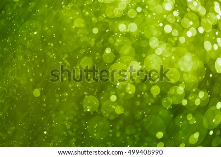 Abstract bokeh background, green light color