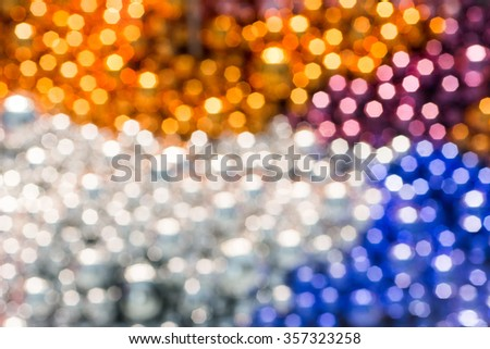 Abstract bokeh background of Christmas light and blurred defocused multi color lights from decorate ball - stock photo