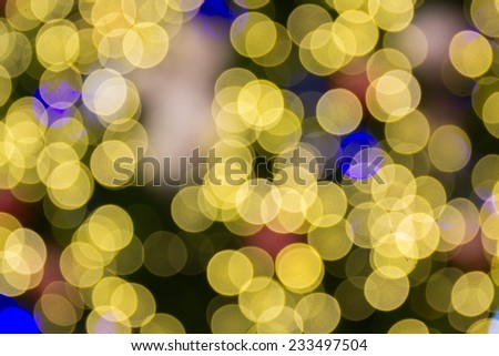 Abstract bokeh circle background,defocused decorated xmas tree bokeh composition