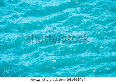 Abstract bokeh from light in the blue water wave background
