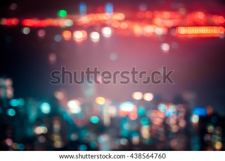 Abstract Bokeh Hong Kong City background in vintage color tone - stock photo