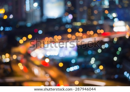 Abstract bokeh light of city road curve night