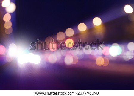 Abstract bokeh lights of traffic in the city. - stock photo