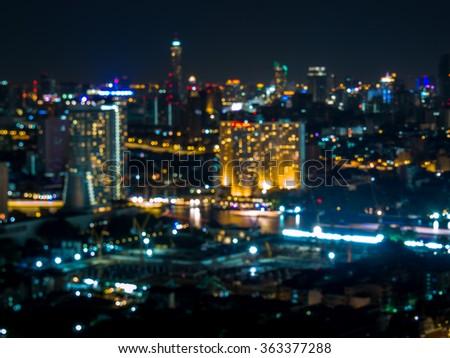 Abstract bokeh of Bangkok city at night/ background and texture - stock photo