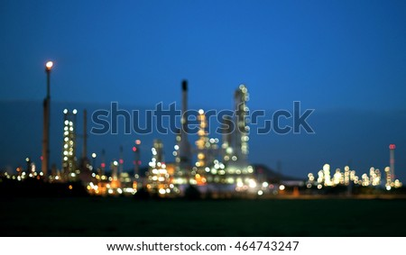 abstract bokeh of oil refinery as industry background