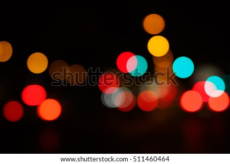 Abstract bokeh traffic and car lights, defocused background