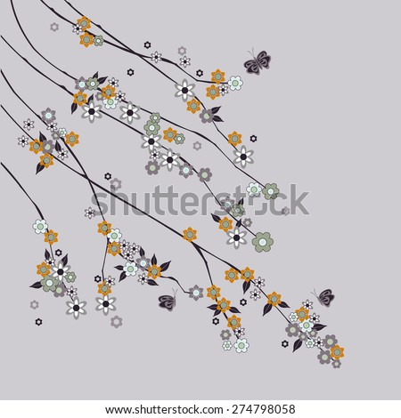 abstract branches with flowers - illustration - stock photo
