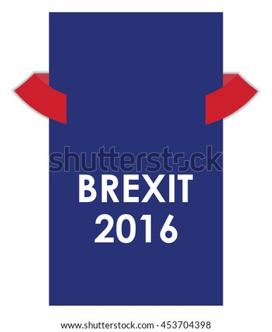 abstract brexit 2016 banner with red ribbons - stock photo