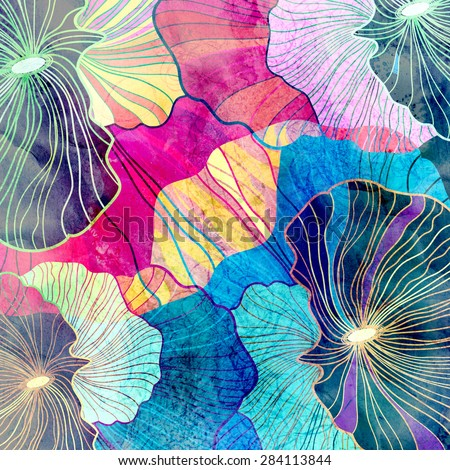 abstract bright background with different elements - stock photo