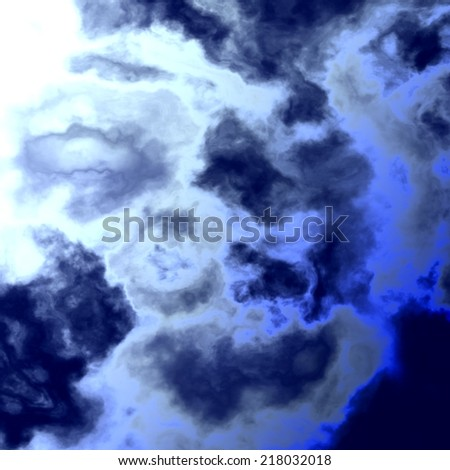 Abstract Bright Blue Sky With Water Clouds - Burning Summer Beach Sun Light - Ozone Destruction - Intense Radiation Explosion  - stock photo