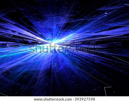 Abstract bright blue technology background computer-generated image with glowing stripes and lines, leaving the horizon. Fractal artwork for banners, posters, web design, desktop wallpaper  - stock photo