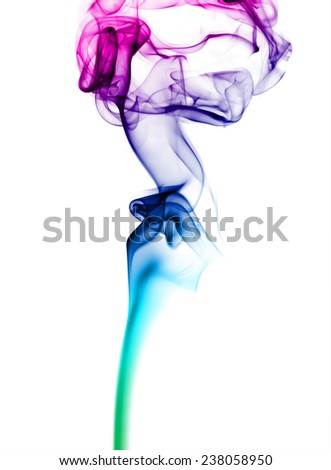 Abstract bright colored smoke on a white background. - stock photo