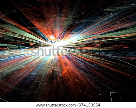 Abstract bright colored technology background computer-generated image with with glowing stripes and lines, leaving the horizon. Fractal artwork for banners, posters, web design, wallpaper desktop - stock photo