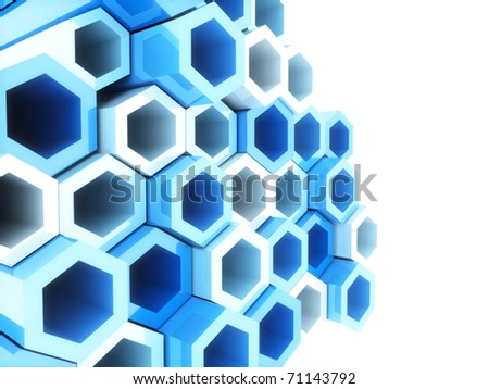 Abstract bright geometrical background with blue hexagons and copyspace - stock photo