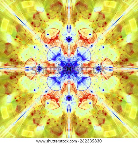 Abstract bright high resolution fractal background with a detailed abstract cross-like flower/star with four petals in the middle, all in yellow,red,blue - stock photo