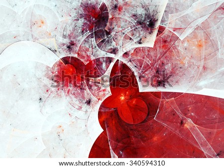Abstract bright painting texture. White and red color pattern. Modern futuristic winter background. Fractal artwork for creative graphic design - stock photo