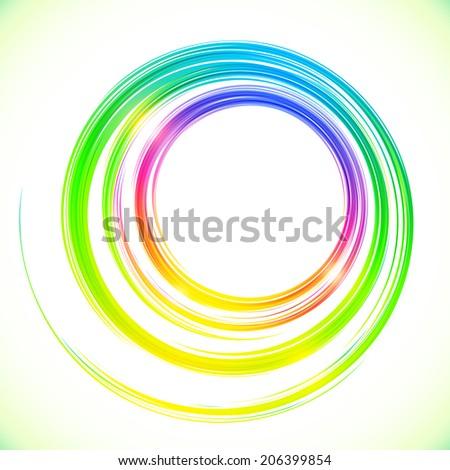 Abstract bright rainbow colors circles frame - stock photo