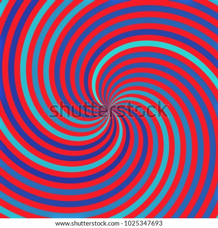 Abstract bright red and blue radial circular twist design