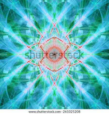 Abstract bright vivid high resolution fractal background with a detailed abstract cross-like flower/star with four petals in the middle, all in cyan,green,red - stock photo