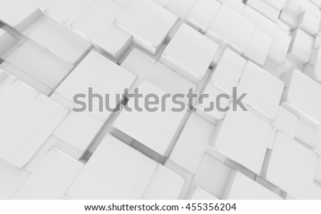 Abstract broadcast background with white cubes and lines, 3D illustration.
