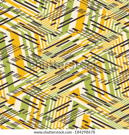 Abstract broken rhythmic striped textured geometric seamless pattern.