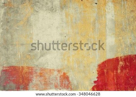 Abstract brushed concrete surface. Red and yellow. Peeled. Vintage effect. - stock photo