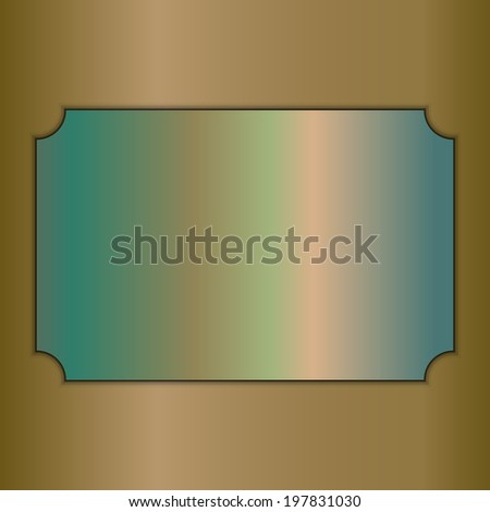 abstract brushed gold award plate on beige background