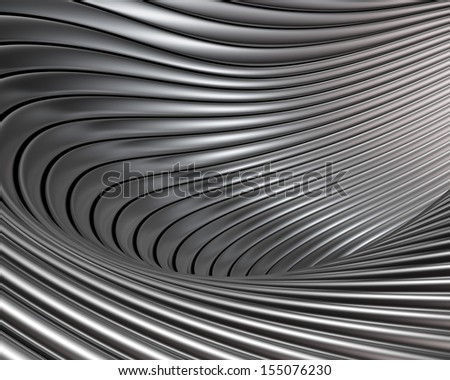 Abstract brushed metal concept. Elegant metallic shapes background