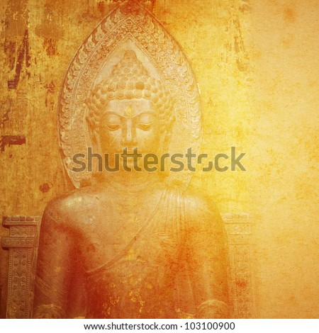 Abstract Buddhist Collage Background - stock photo