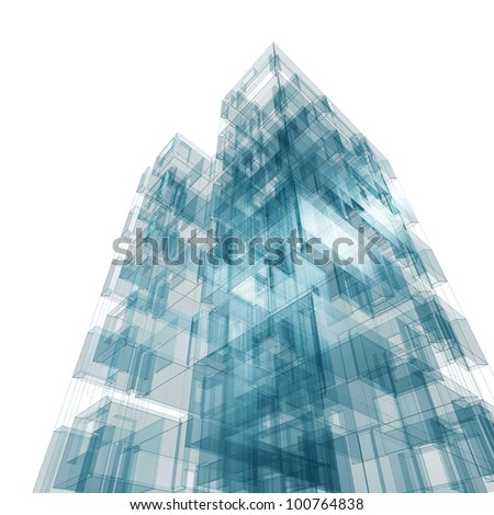 Abstract building. Architecture design and model my own - stock photo