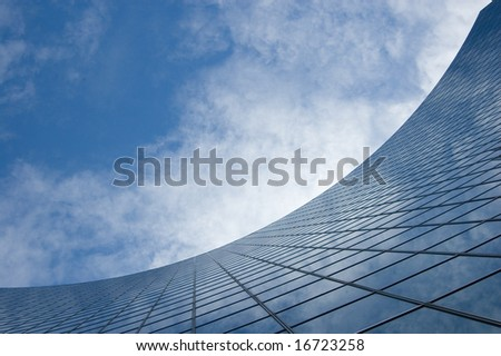 Abstract Building Background against sky and clouds