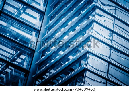 Abstract building. blue glass wall of skyscraper