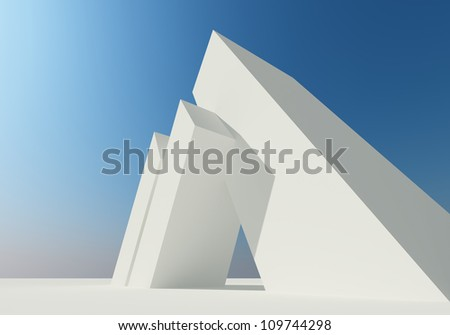 Abstract building of white structure - stock photo
