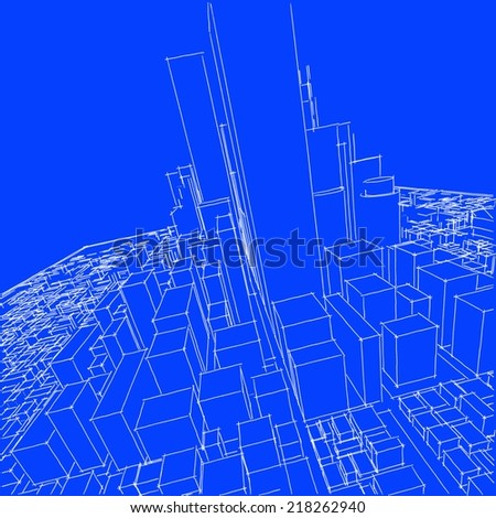 abstract buildings sketch background