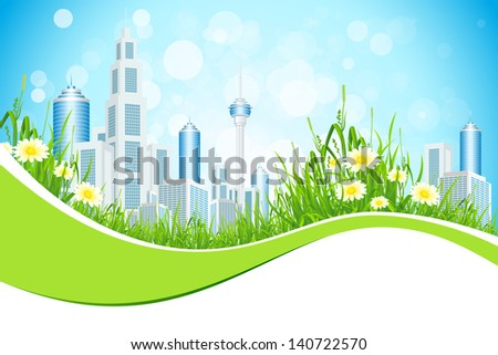 Abstract Business Background with City Line Flowers and Grass