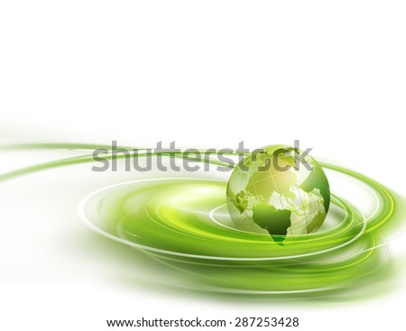Abstract business background with green world - stock photo