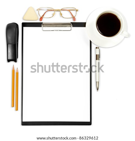abstract business background with office supply isolated on white - stock photo