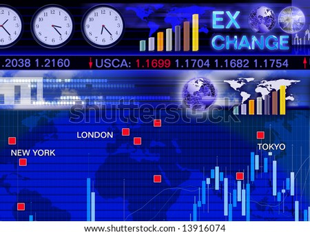 Abstract business concept: foreign currency exchange market scene - stock photo