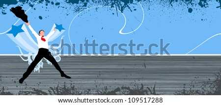 Abstract Business man jump background with space - stock photo
