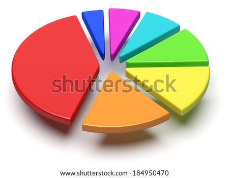 Abstract business statistics, financial analysis, growth and development concept: colorful 3D pie chart with flying separated segments on white background - stock photo