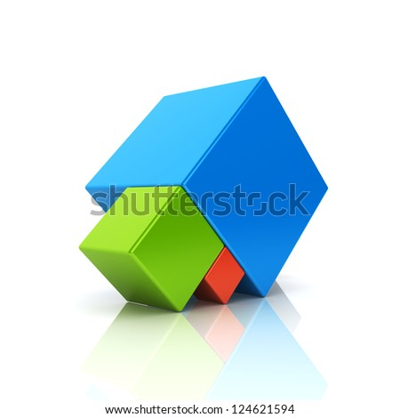 Abstract business symbol with 3 cubes. Support concept. Color set