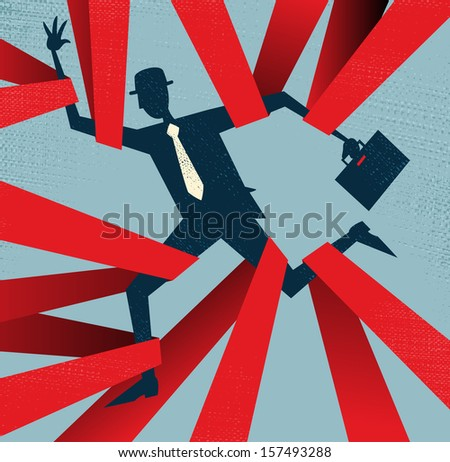 Abstract Businessman caught in Red Tape. Great illustration of Retro styled Abstract Businessman caught up in bureaucratic red tape. - stock photo
