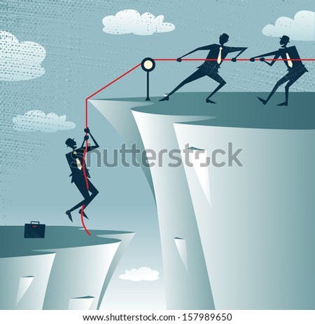 Abstract Businessman gets help from the Team. Great illustration of Retro styled Businessman getting a welcome lift up the corporate mountain with the assistance of his team members.