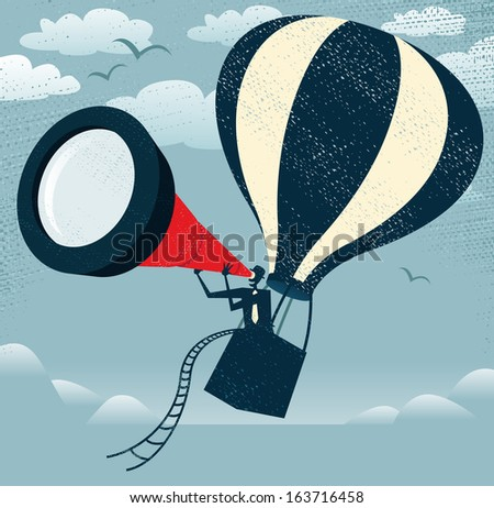 Abstract Businessman gets the best View of all Time. illustration of Retro styled Businessman with the fantastic idea to use his gigantic telescope in a Hot Air Balloon to get an edge on his rivals.  - stock photo